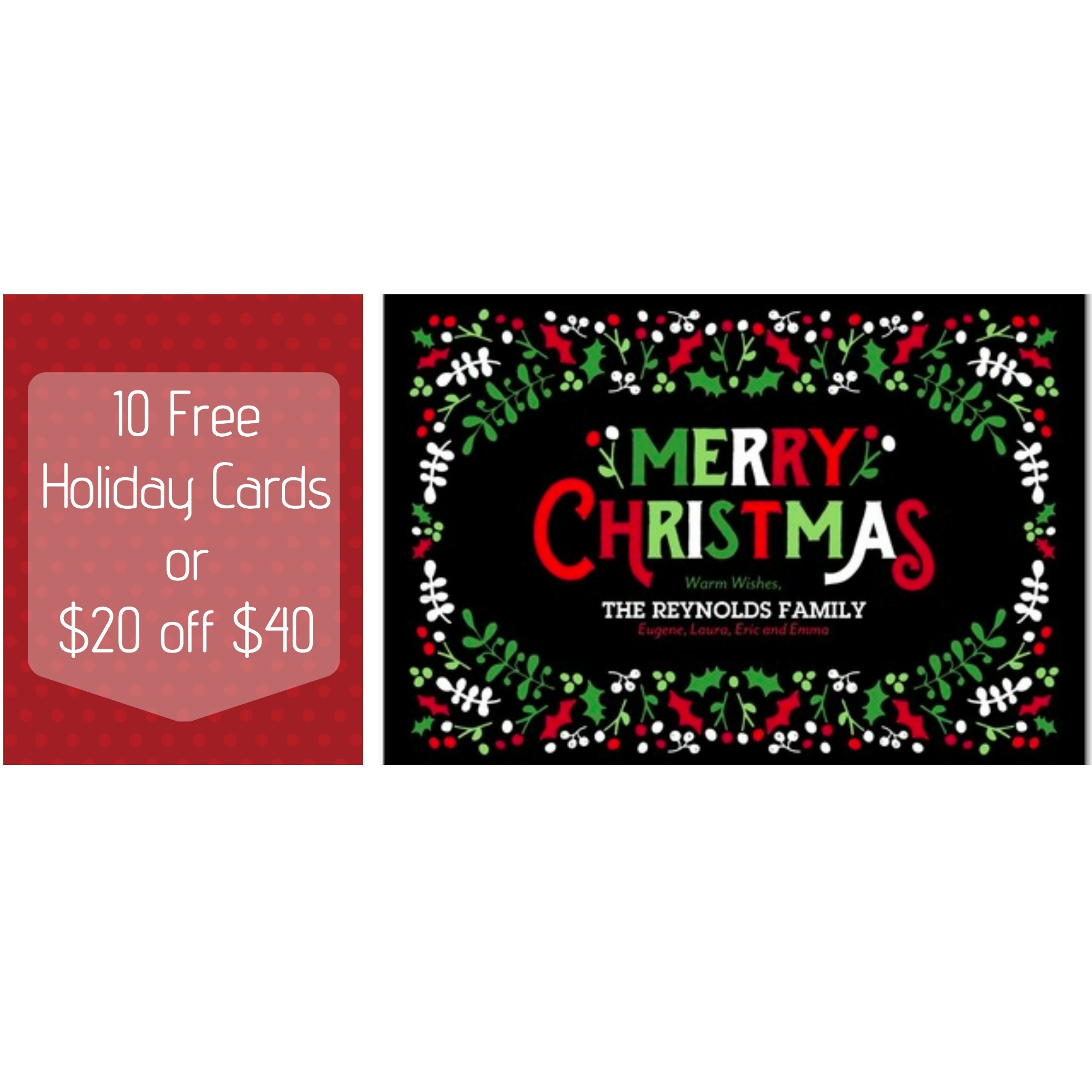 Free Holiday Cards and $20 off!