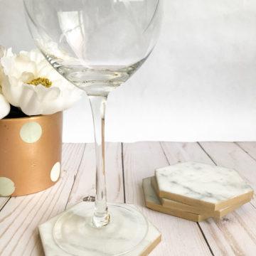 Carrara Marble Hexagonal Coaster Set | Rosewood and Grace