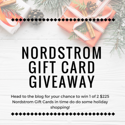 Could you use a $225 Nordstrom gift card to finish your holiday shopping? How about maybe just to spend on something for yourself? Head to the blog for a chance to win!