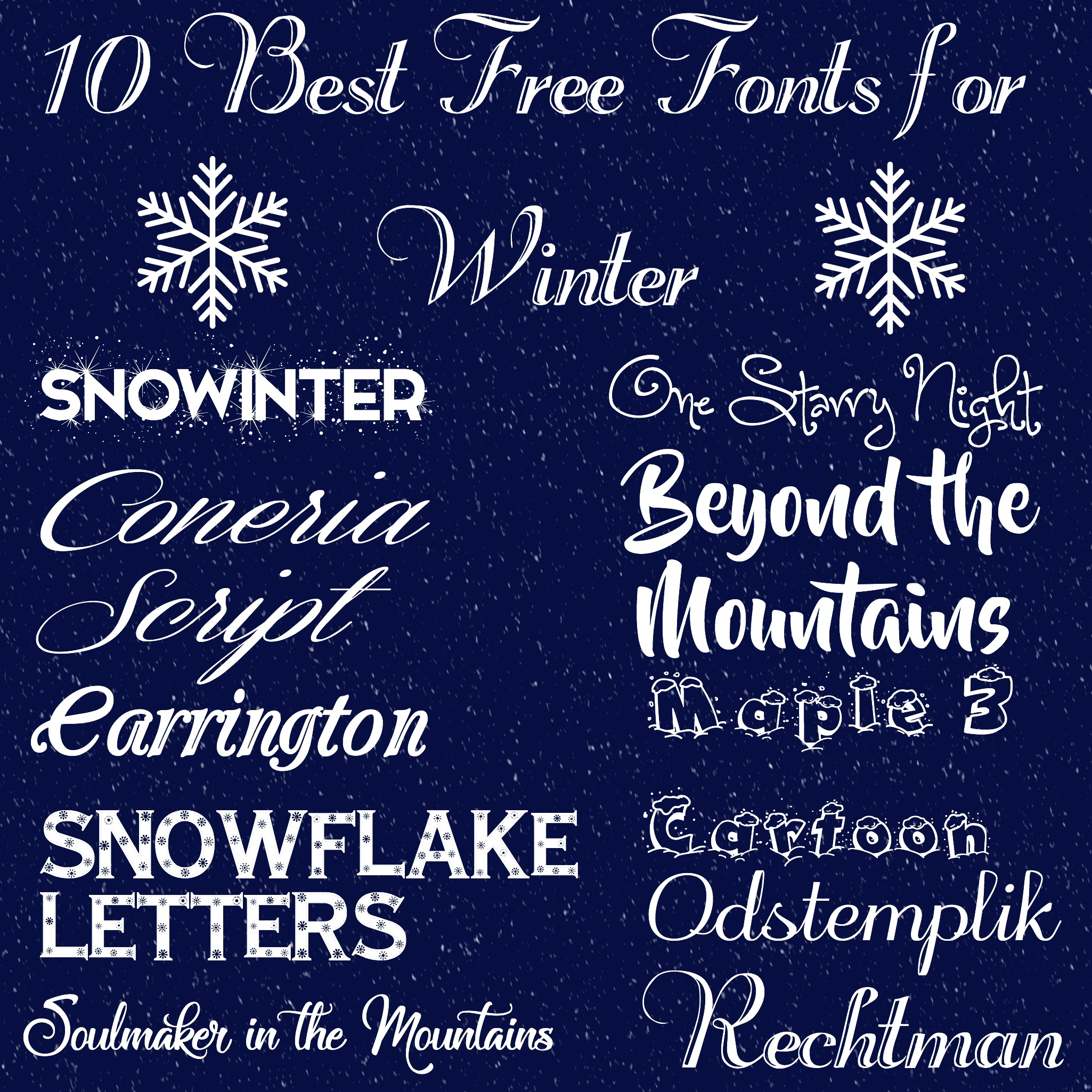 10 Best Free Fonts for Winter - Rosewood and Grace