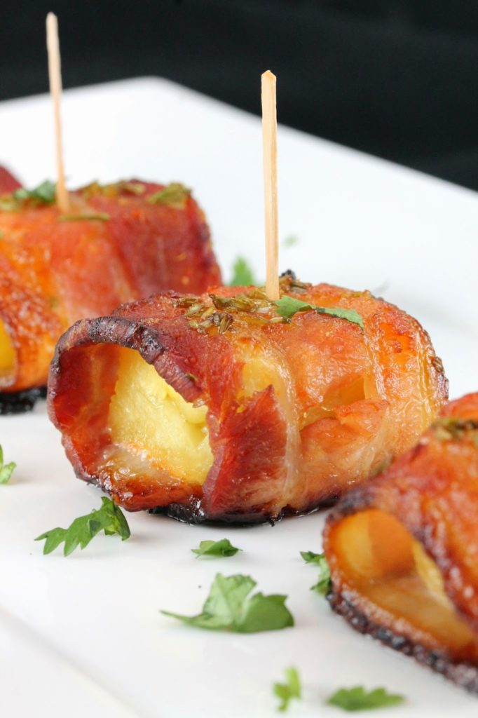 Sriracha Honey Glazed Bacon Wrapped Pineapple by The Stay At Home Chef